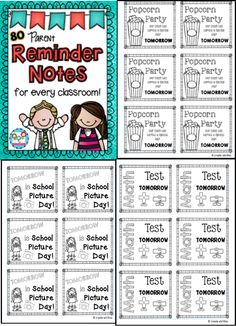 Classroom reminder notes. 80 quick print and go notes for every occasion! Parent-Teacher Conference reminders, class party reminders, IEP reminders and more! $ #classnotes #reminders #printandgo