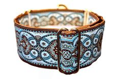 Chocolate and Blue Jacquard Martingale Collar - 2 Inch --from the Hound Haberdashery