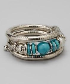 Silver & Blue Bead Coil Ring