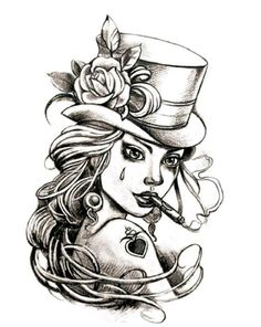 LADY W/TOPHAT temporary tattoo