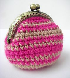 Handmade Crochet Coin Purse in Pink Kiss by brokenhallelujah, via Flickr