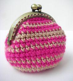 Handmade Crochet Coin Purse in Pink Kiss by brokenhallelujah, via Flickr