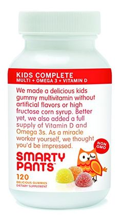 SmartyPants Kids Complete Multivitamin Omega 3 Fish Oil Vitamin and 120 Gummies Smarty Pants Kids Complete Gummy Vitamins with Multivitamin Omega and Vitamin D 17 Fish Oil Vitamins, Vitamins For Kids, Vitamins And Minerals, Children's Vitamins, Chewable Vitamins, Best Multivitamin, Omega 3 Fish Oil, Prenatal Vitamins, Vitamin D