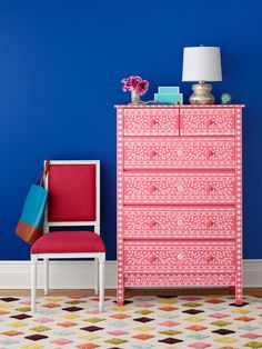 A DIY stenciled bone inlay dresser using the Indian Inlay Stencil kit featured in HGTV Magazine. http://www.cuttingedgestencils.com/indian-inlay-stencil-furniture.html
