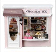 Dollhouse Miniature DIY Kit w/ Light Chocolate Store Candy Shop Europe Travel