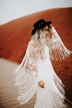 Wedding Dress Vintage Amazing fringe dress by Rue de Seine a bridal hat! Fringe Wedding Dress, Boho Wedding Dress With Sleeves, Fairy Wedding Dress, Making A Wedding Dress, Long Sleeve Wedding, Perfect Wedding Dress, Fringe Dress, Mermaid Wedding, Dress Making