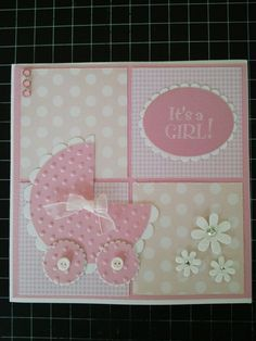Baby Shower Cards for Girls Unique Baby Girl Card … Baby Cards Baby Girl Cards, New Baby Cards, Diy Cards Baby, Cards Diy, Cricut Cards, Congratulations Card, Greeting Cards Handmade, Baby Shower Cards Handmade, Creative Cards