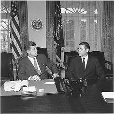 Kennedy and McNamara photo from Cold War: Cuban Missile Crisis to Detente. Slideshow containing Kennedy and McNamara full-size image Us History, American History, Irish American, American Life, Robert Mcnamara, John Fitzgerald, Nuclear War, American Presidents, Presidents Usa