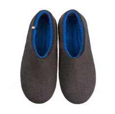 Gents slippers in black and blue. Our house shoes are most comfortable and so quiet! Such pleasure to walk on wooden floors. #mens #felted #wool #slippers