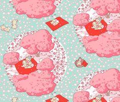 Baby Bunny Hanami Trees fabric by aimee on Spoonflower - custom fabric