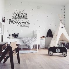 """Play is the Highest form of Research"" Einstein Quote Kids Wall Decal"