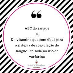 Série ABC do sangue! Cada dia uma letra e um assunto! #fernandahemato #sangue #hematologia #vitaminak