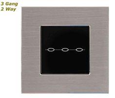GLSTouch Designer Silver & Black Brushed Aluminium Touch Light Switch (On/Off) 3 Gang 2 Way