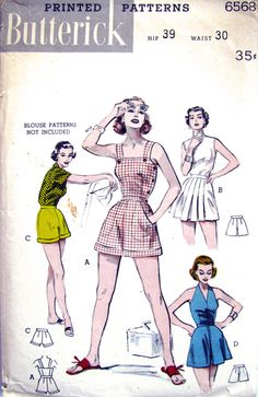 Sewing Blusas MOMSPatterns Vintage Sewing Patterns - Butterick 6568 Vintage Sewing Pattern SAUCY Rockabilly PinUp Girl Side Buttons Sun Suit, Halter Top Playsuit, Cuffed or Skirted Shorts Waist 26 - Retro Mode, Mode Vintage, Sewing Clothes, Diy Clothes, Sewing Shorts, Skirt Sewing, Vintage Sewing Patterns, Clothing Patterns, Pattern Sewing