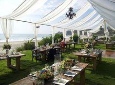 salt creek beach wedding | Salt Creek in Dana Point. Love the chandeliers and white curtains.