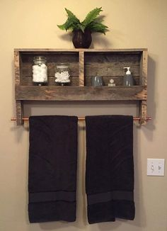 Items similar to Reclaimed Wood Copper Rod Double Towel Rack Bathroom Shelf Rustic Home Decor Pallet Furniture Towel Rack on Etsy