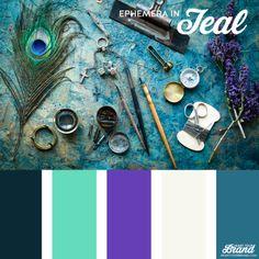 Teal. Ephemera. Peacock blue. Violet purple. So beautiful. Brand identity color palette inspiration. #brandidentity #colorpalette