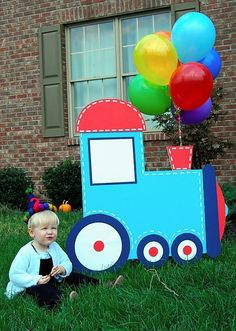 Idea for Eli Birthday! train birthday- I like the balloons as the smoke Thomas The Train Birthday Party, Trains Birthday Party, Train Party, 4th Birthday Parties, Birthday Fun, Birthday Ideas, Transportation Birthday, First Birthdays, Party Time