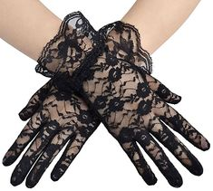 Buy Women Vintage Sheer Short Lace Gloves Derby Tea Party Wrist Length Floral Gloves for Dinner Fancy Costume Accessories Gloves Floral Gloves, Black Lace Gloves, Short Lace Wedding Dress, Wedding Black, Wedding Bride, Elegant Wedding, Floral Wedding, Bridal Lace, Luxury Wedding
