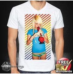 Fc0118 Men's T Shirt V Neck Sexy Blonde Girl Smoking Her Bong Size S M L Xl Xxl New Mens Tee 100% Cotton White
