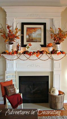 Red, yellow and orange leaves make up this fall mantle, placed in vases, strung as garland and displayed in a picture frame.
