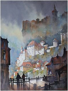 Towers of Rocamadour - France by Thomas W. Schaller Watercolor ~ 30 inches x 22 inches