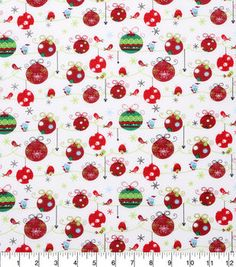 Christmas Cotton Fabric-Ornaments And Birds All Over