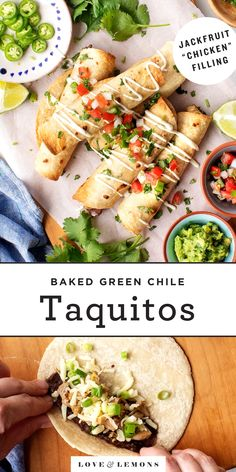 Vegetarian Learn how to make AMAZING taquitos at home! Stuffed with green chile jackfruit and refried beans, these easy baked taquitos are crispy and delicious. A perfect party appetizer or dinner! Homemade Taquitos, Baked Taquitos, Taquitos Recipe, Mexican Food Recipes, Vegetarian Recipes, Healthy Recipes, Ethnic Recipes, Xmas Recipes, Healthy Eats