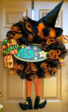 Witch Is In Halloween Wreath Mesh by marinascustomdesigns on Etsy, $65.00