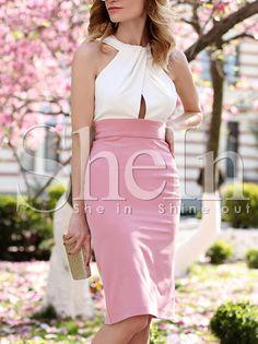 Pink White Sleeveless Color Block Dress 15.99