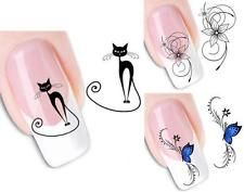 Nail Art Sticker Water Transfer Stickers Black Cat Decals Tips Decoration  DIC