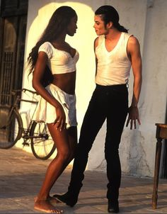 "Naomi Campbell and Michael Jackson in ""in the closet"" video"