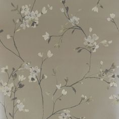 Vintage style cherry blossom brown wallpaper 10m Roll