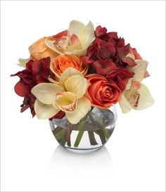 Burgundy hydrangeas, yellow cymbidiums, orange roses. Is this only suitable for fall?