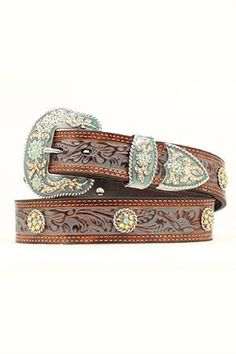 Pretty  Nocona Women's Floral Embossed Washed Leather Western Belt
