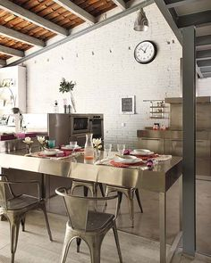 barcelona loft industrial dining room