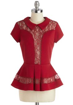 Cider House Top - Red, Solid, Lace, Party, Peplum, Short Sleeves, Mid-length, Sheer, Peter Pan Collar, Vintage Inspired, 40s, Collared, Knit...
