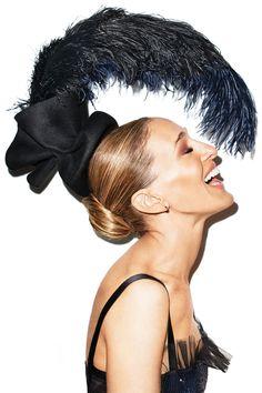 Sarah Jessica Parker for Harper´s Bazaar US, September 2013 -Dress, Chanel. headpiece, Ellen Christine Couture.  Earrings, Sydney Evan.