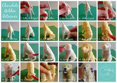 Edible golden retriever cake topper tutorial by Dog Cake Topper, Cake Topper Tutorial, Fondant Tutorial, Fondant Toppers, Fondant Animals, Animal Cakes, Dog Cakes, Fondant Decorations, Modeling Chocolate