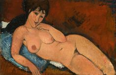 Nude on a Blue Cushion / 1917 / oil on linen / overall: 65.4 x 100.9 cm (25 3/4 x 39 3/4 in.) / framed: 84.7 x 120 cm (33 3/8 x 47 1/4 in.) / National Gallery of Art