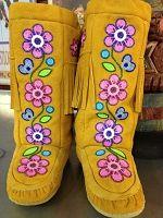 Rosa Scribe (Cree) Original Fringed, Moose Hide Mukluk With Ankle-Wrap Beadwork. Native Beadwork, Native American Beadwork, Baby Moccasin Pattern, Jingle Dress, Beaded Moccasins, Beadwork Designs, Bead Sewing, Nativity Crafts, Beading Patterns