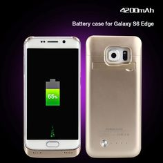 4200mah Emergency Rechargeable Backup External Battery Charger Case for Samsung Galaxy S6 edge Power Bank Cover w/ Kickstand