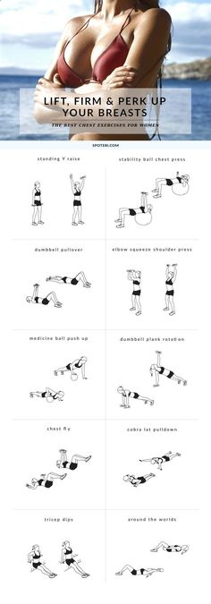 Yoga Workout - Try these 10 chest exercises for women to give your bust line a lift and make your breasts appear bigger and perkier, the natural way! www.spotebi.com/... Get your sexiest body ever without,crunches,cardio,or ever setting foot in a gym