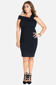 Plus Size Alexa Asymmetric Ponte Dress