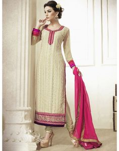 Cream Georgette Suit with Embroidery Work