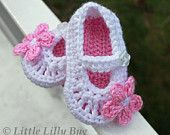 Crocheted Ballet Baby Booties in White and Dusty Rose Pink, sizes NB, 0-3 months, 3-6 months, 6-9 months, 9-12 months. $18,00, via Etsy.