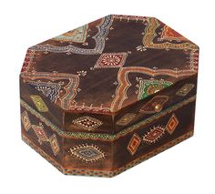 """Bulk Wholesale Handmade 10"""" Octagonal-Shaped Mango-Wood Jewelry Box in Natural-Wood Color Decorated with Cone –Painting Art in Bright Colors & a Metal Knob – Ethnic-Look Boxes from India"""