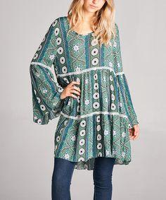 Green Geometric Tiered Peasant Tunic