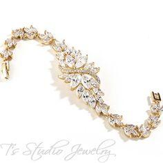 Marquis CZ Gold Bridal Bracelet - from T's Studio Jewelry