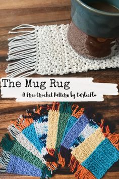 The Mug Rug - a free crochet pattern for a fun boho coaster that's cute and whimsical. Great seller for markets and craft fairs! Crochet Home, Crochet Gifts, Free Crochet, Knit Crochet, Crochet Craft Fair, Mug Rug Patterns, Knitting Patterns, Boho Crochet Patterns, Canvas Patterns